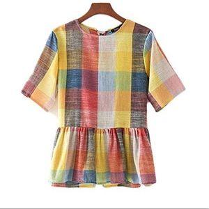 SHEIN split back colorful checkered shirt